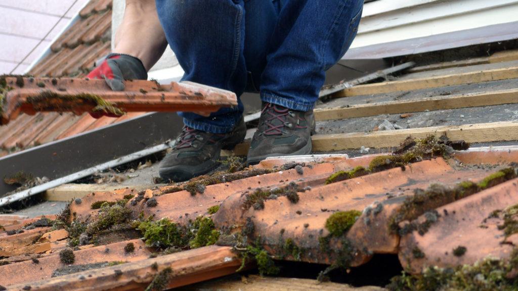 Regelmäßige Wartung und Reparatur spart langfristig Kosten - Dachdecker beim Reiniger der Dachschindeln